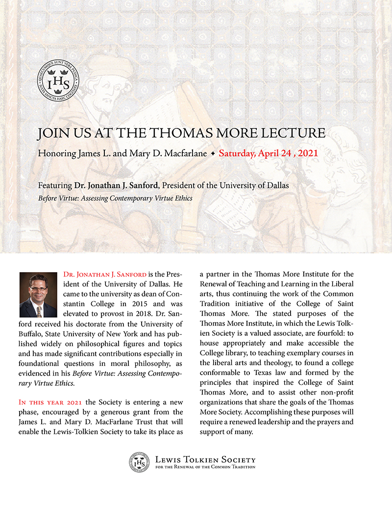 The Annual Thomas More Lecture